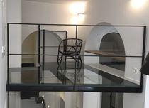 Steel raised access floor / glass / indoor