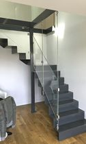 Quarter-turn staircase / metal steps / steel frame / with risers