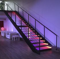 Straight staircase / glass steps / steel frame / without risers