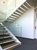 Half-turn staircase / wooden steps / metal steps / metal frame