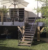 Straight staircase / wooden steps / stainless steel steps / stainless steel frame