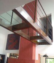 Beam walkway / steel / glass / fixed
