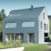 Aluminum cladding / lozenge-patterned / shingle / gray