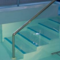 Straight staircase / plastic steps / metal frame / with risers