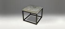 Contemporary side table / metal / oak