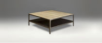 Contemporary coffee table / wooden / metal / with storage compartment