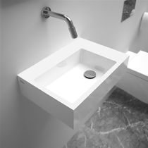 Wall-mounted hand basin / rectangular / ceramic