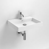 Wall-mounted washbasin / rectangular / composite / contemporary