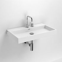 Wall-mounted washbasin / rectangular / marble / contemporary