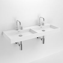 Double washbasin / wall-mounted / rectangular / marble
