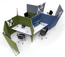Floor-mounted office divider / fabric / modular