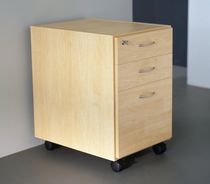 Wooden office unit / 3-drawer / key type