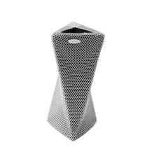 Contemporary vase / stainless steel / ceramic