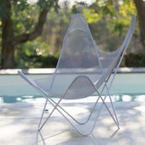 Original design armchair / stainless steel / white