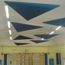 Ceiling acoustic panel / fabric / colored / commercial