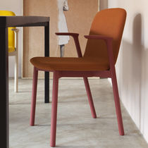 Scandinavian design restaurant chair / fabric / water-resistant fabric / beech