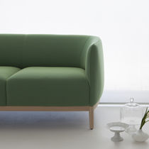 Contemporary sofa / fabric / leather / wooden