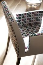 Contemporary chair / fabric / beech / leather