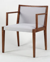 Contemporary chair / wooden / upholstered / with armrests