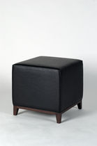 Contemporary pouf / leather / square