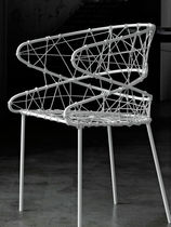 Contemporary chair / thermoplastic / white / garden
