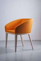 Contemporary armchair / beech / leather / canvas