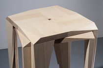 Contemporary bar stool / hardwood / stackable