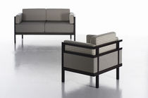 Contemporary sofa / fabric / 3-seater / gray