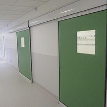 Sliding industrial door / metal / semi-glazed / interior