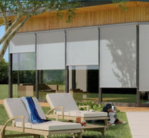 Boxed roller blinds / fabric / outdoor / blackout
