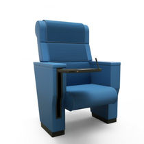 Contemporary auditorium seating / fabric / leather / tablet