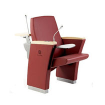 Contemporary auditorium seating / fabric / leather / wooden