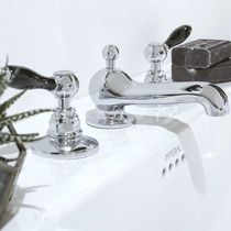 Double-handle washbasin mixer tap / free-standing / chromed metal / nickel