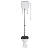 Free-standing toilet / monobloc / ceramic / with high tank