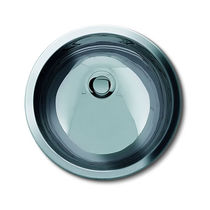 Built-in washbasin / round / stainless steel / contemporary