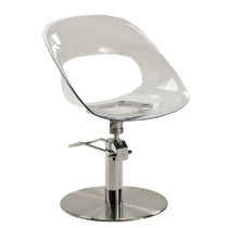 Plexiglas® beauty salon chair / swivel / with hydraulic pump / central base