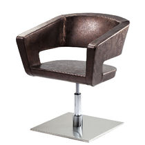 Stainless steel beauty salon chair / swivel / with hydraulic pump / central base