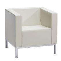 Contemporary visitor armchair / leather / white / for beauty salons