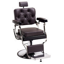 Leather barber chair / chromed metal / swivel / with footrest