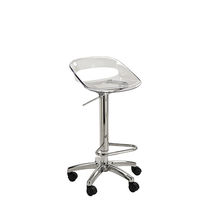 Metal task stool / Plexiglas® / for beauty salons / on casters