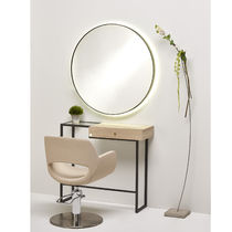 Contemporary dressing table / wooden / metal / tempered glass