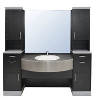 Free-standing washbasin cabinet / wooden / contemporary / with mirror