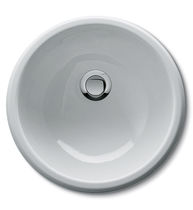 Built-in washbasin / round / enameled metal / contemporary