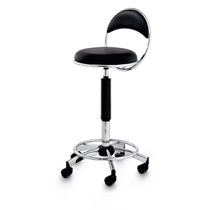 Chrome steel task stool / for beauty salons / on casters / with hydraulic pump