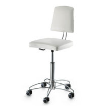 Chrome steel task stool / for beauty salons / upholstered / on casters