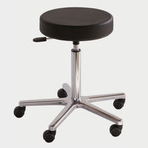 Work stool / contemporary / aluminum / on casters