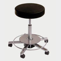 Work stool / contemporary / polished aluminum / on casters