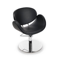 Leather beauty salon chair / swivel / with hydraulic pump / central base