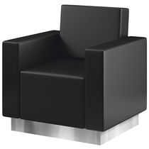 Leather visitor armchair / for hairdressers