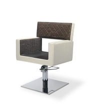 Leather beauty salon chair / metal / swivel / central base